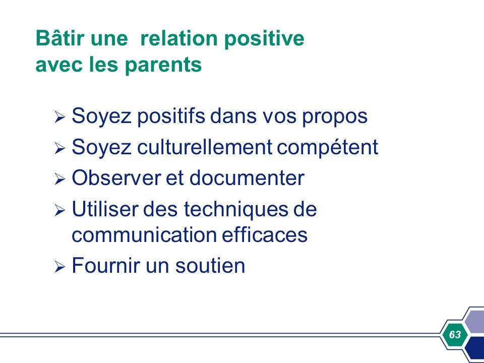 Bâtir une relation positive avec les parents