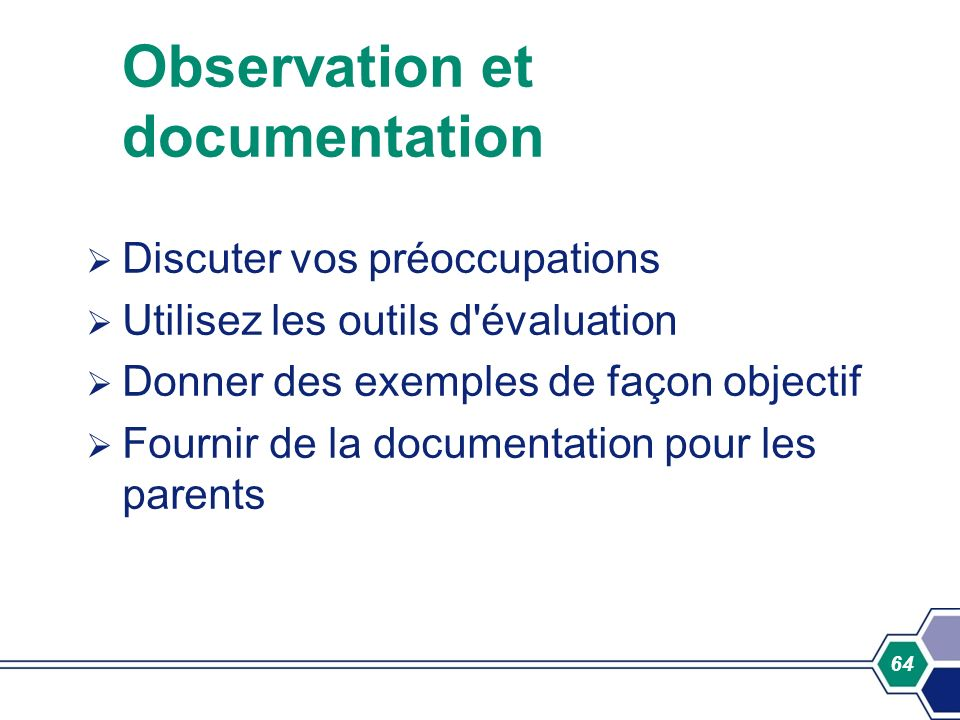 Observation et documentation