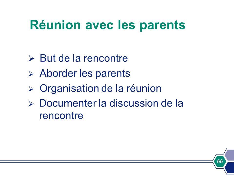 Réunion avec les parents