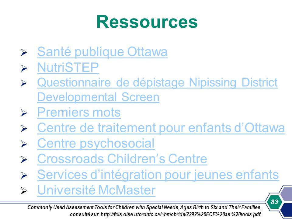 Ressources Santé publique Ottawa NutriSTEP Premiers mots