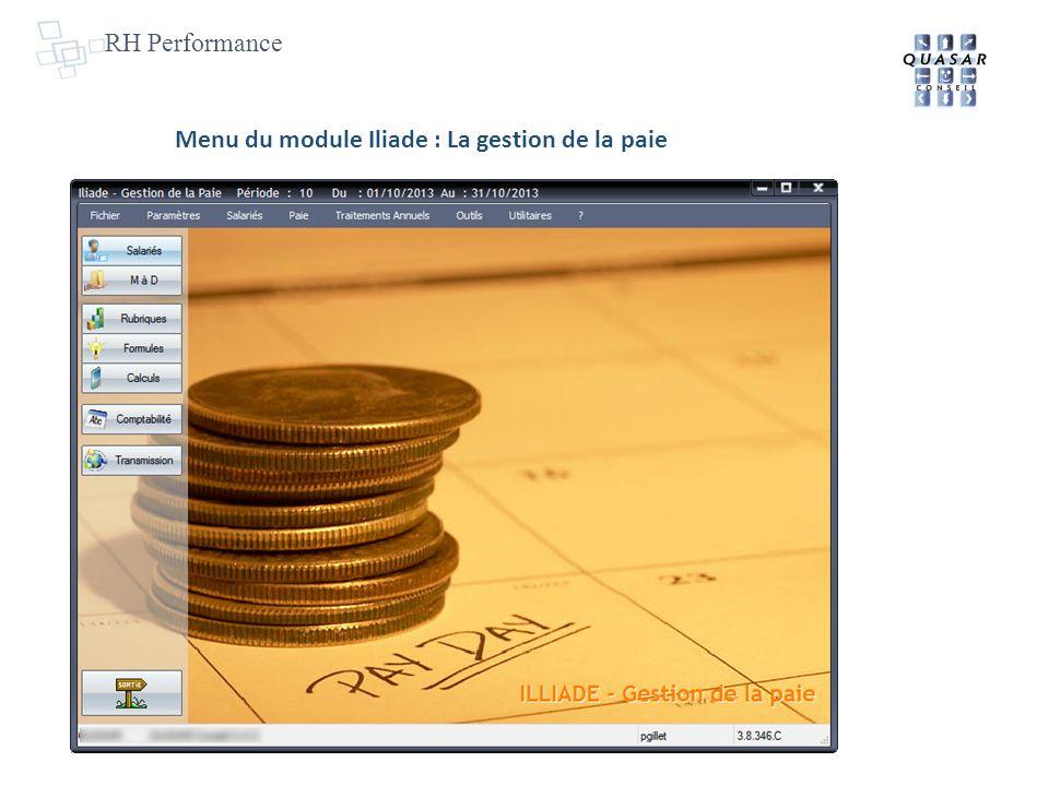 Menu du module Iliade : La gestion de la paie
