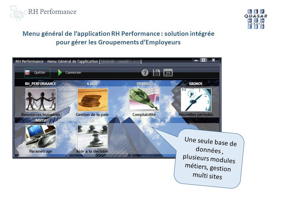 RH Performance Menu général de l'application RH Performance : solution intégrée pour gérer les Groupements d'Employeurs.