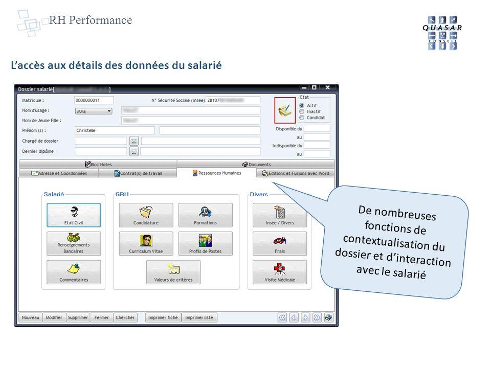 RH Performance L'accès aux détails des données du salarié.