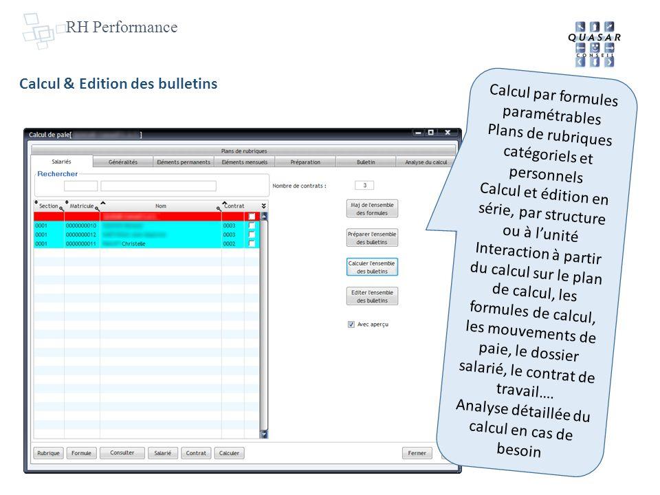 Calcul & Edition des bulletins Calcul par formules paramétrables