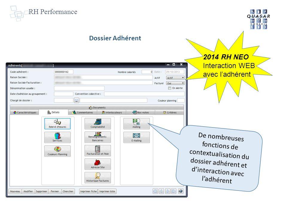 RH Performance Dossier Adhérent. 2014 RH NEO. Interaction WEB avec l'adhérent.
