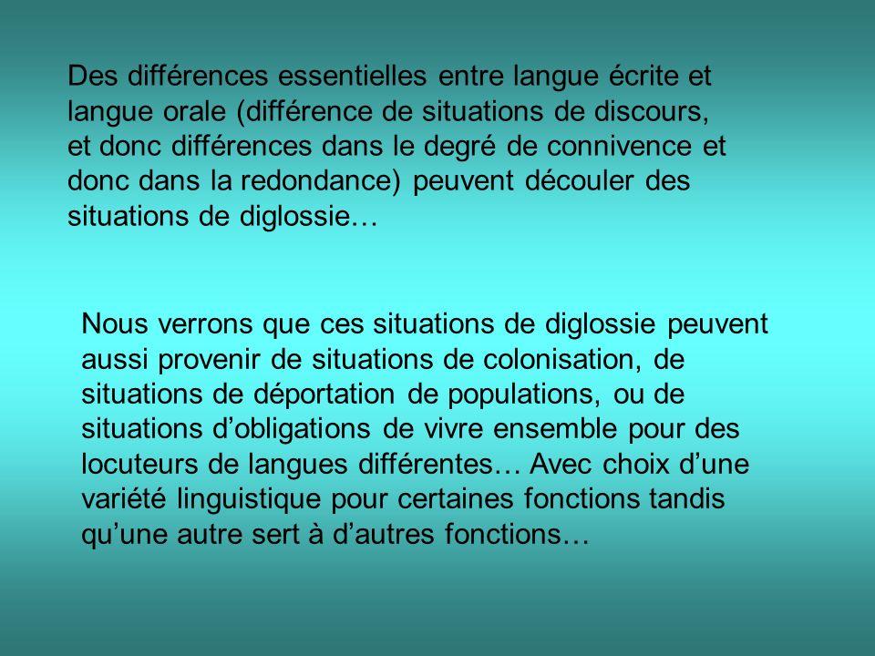 Des différences essentielles entre langue écrite et langue orale (différence de situations de discours, et donc différences dans le degré de connivence et donc dans la redondance) peuvent découler des situations de diglossie…