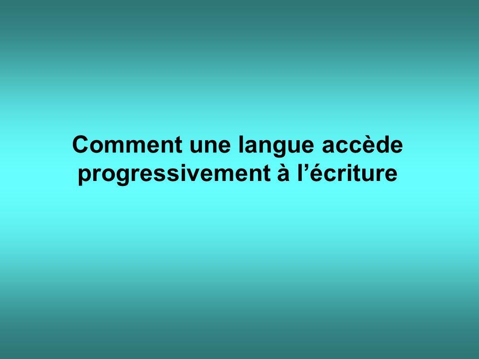 Comment une langue accède progressivement à l'écriture