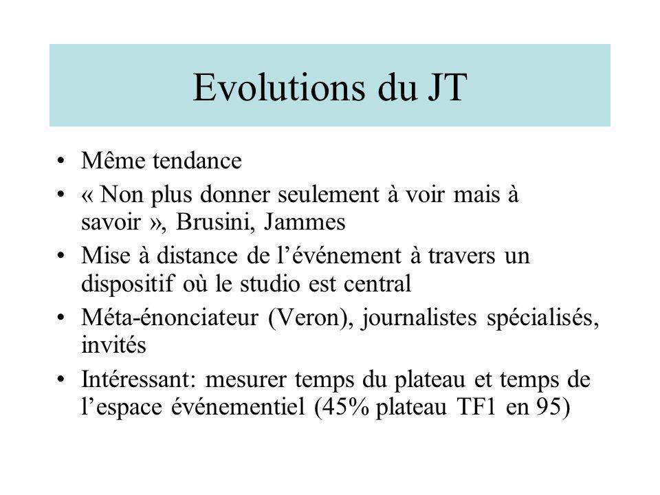 Evolutions du JT Même tendance