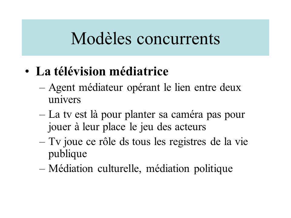 Modèles concurrents La télévision médiatrice