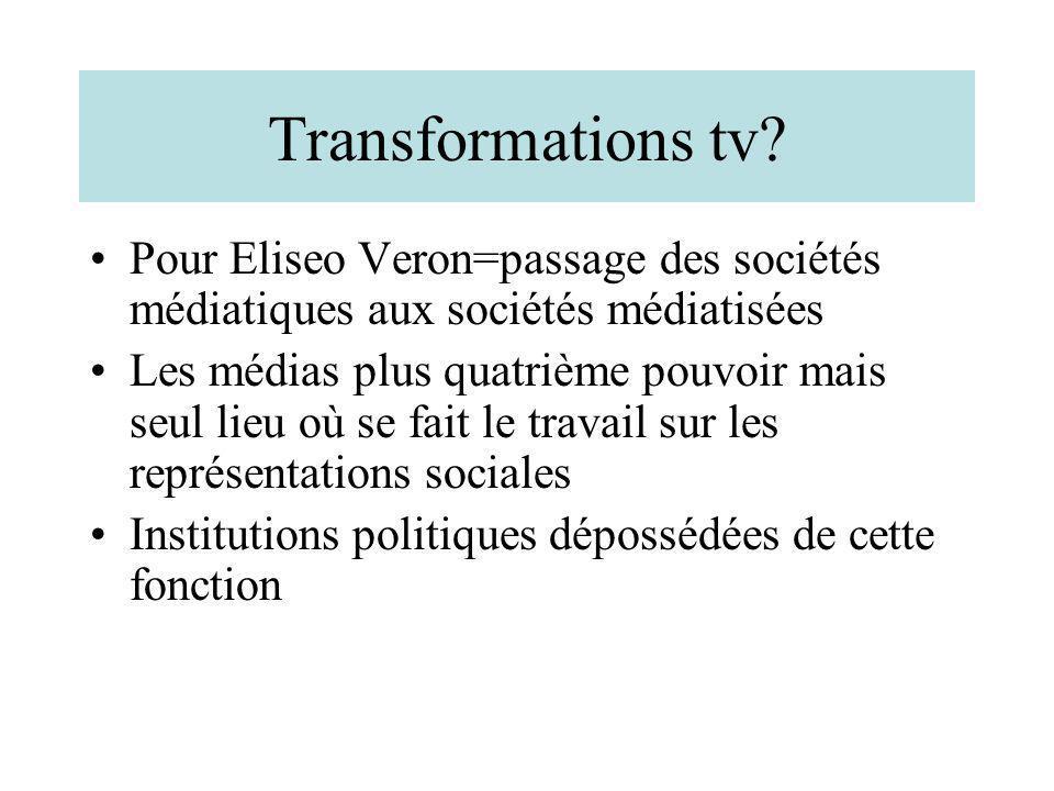Transformations tv Pour Eliseo Veron=passage des sociétés médiatiques aux sociétés médiatisées.