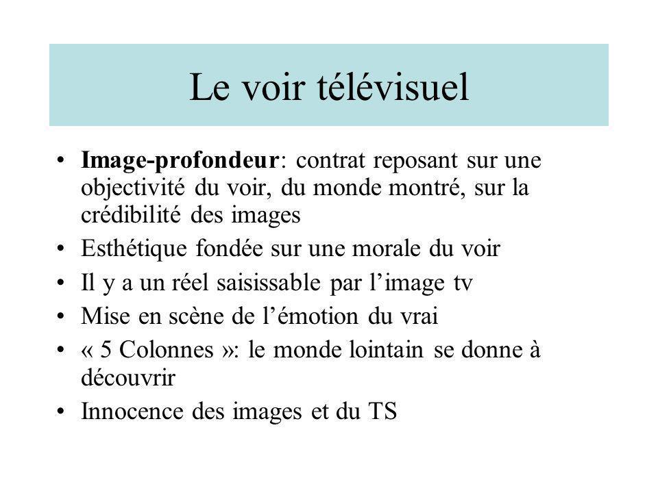 Le voir télévisuel Image-profondeur: contrat reposant sur une objectivité du voir, du monde montré, sur la crédibilité des images.