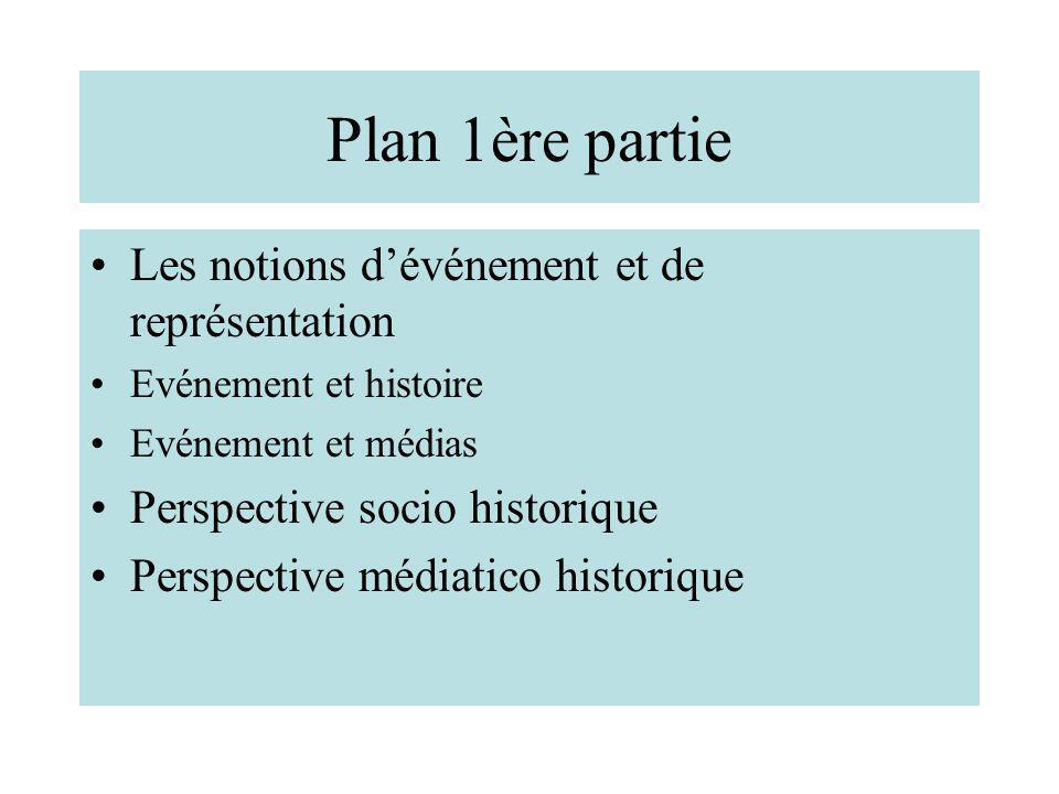 Plan 1ère partie Les notions d'événement et de représentation