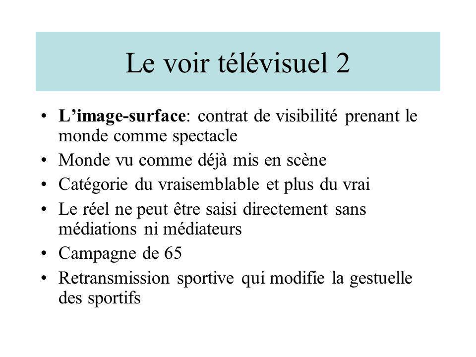 Le voir télévisuel 2 L'image-surface: contrat de visibilité prenant le monde comme spectacle. Monde vu comme déjà mis en scène.