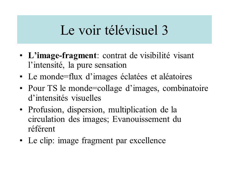 Le voir télévisuel 3 L'image-fragment: contrat de visibilité visant l'intensité, la pure sensation.