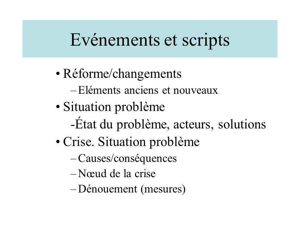 Evénements et scripts Réforme/changements Situation problème