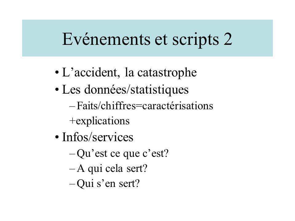 Evénements et scripts 2 L'accident, la catastrophe