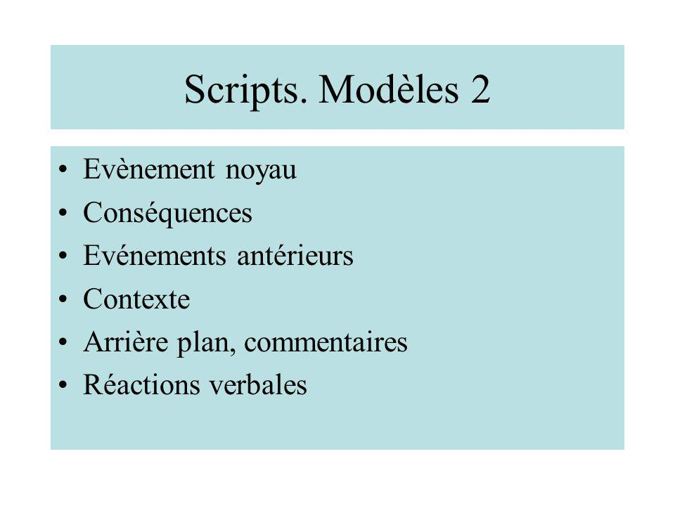 Scripts. Modèles 2 Evènement noyau Conséquences Evénements antérieurs