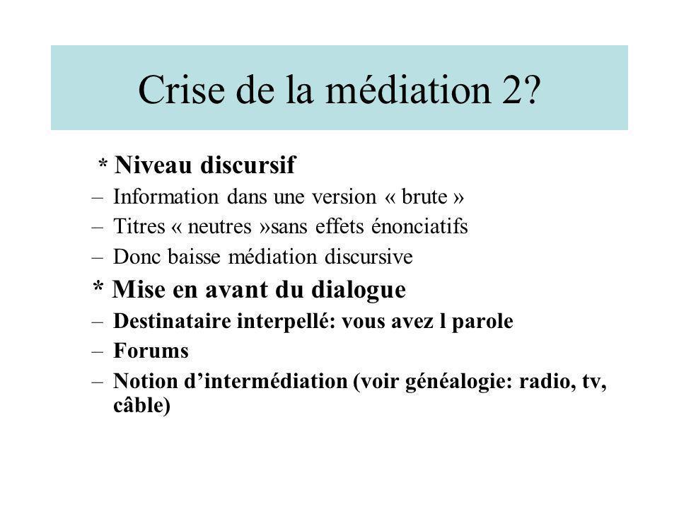Crise de la médiation 2 * Mise en avant du dialogue