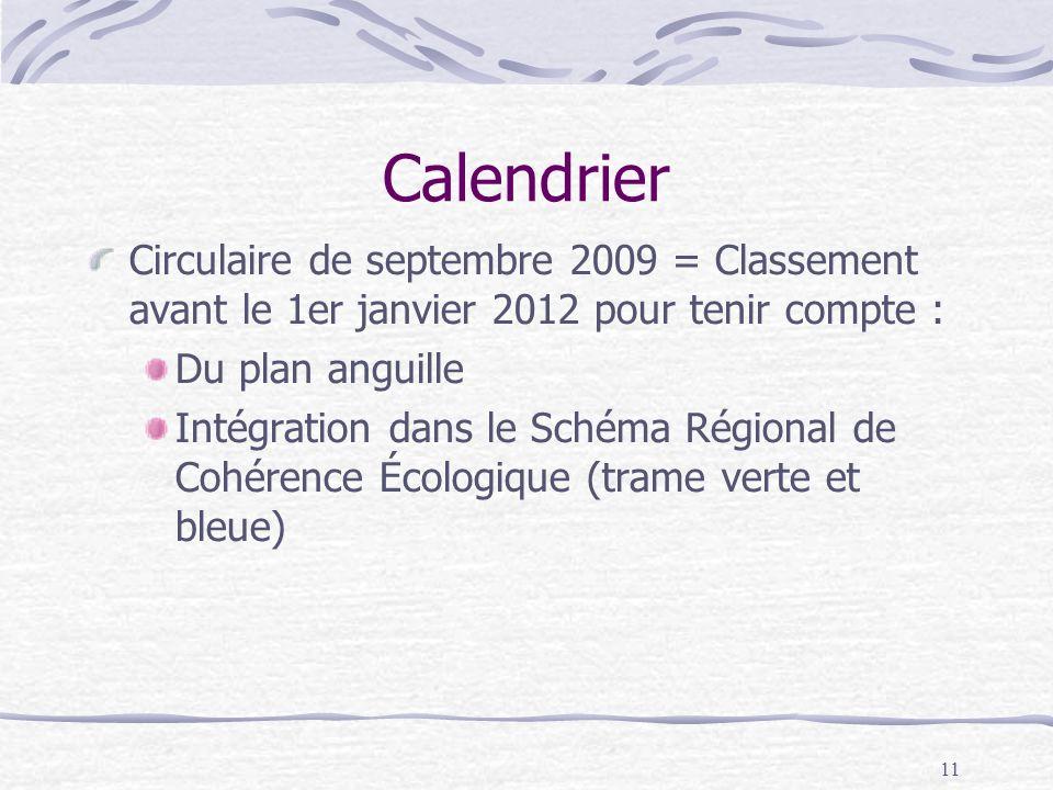 Calendrier Circulaire de septembre 2009 = Classement avant le 1er janvier 2012 pour tenir compte :