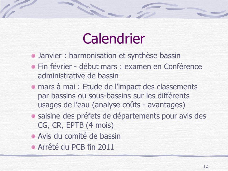 Calendrier Janvier : harmonisation et synthèse bassin