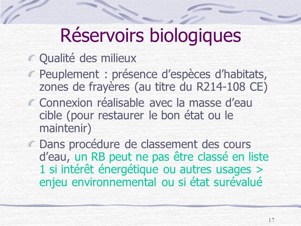 Réservoirs biologiques