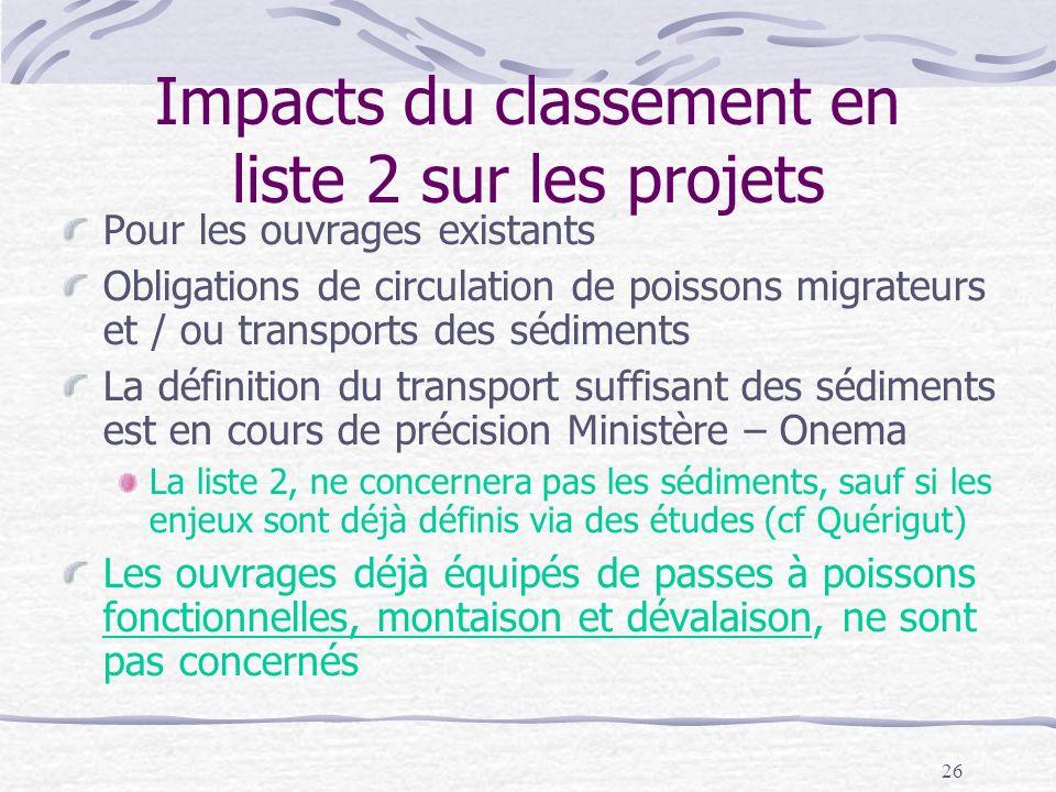 Impacts du classement en liste 2 sur les projets