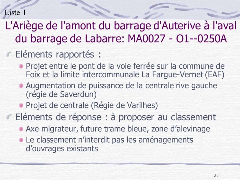 Liste 1 L Ariège de l amont du barrage d Auterive à l aval du barrage de Labarre: MA0027 - O1--0250A.