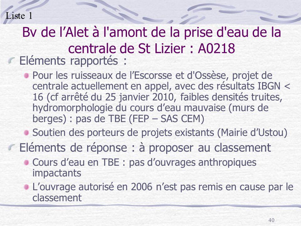 Liste 1 Bv de l'Alet à l amont de la prise d eau de la centrale de St Lizier : A0218. Eléments rapportés :