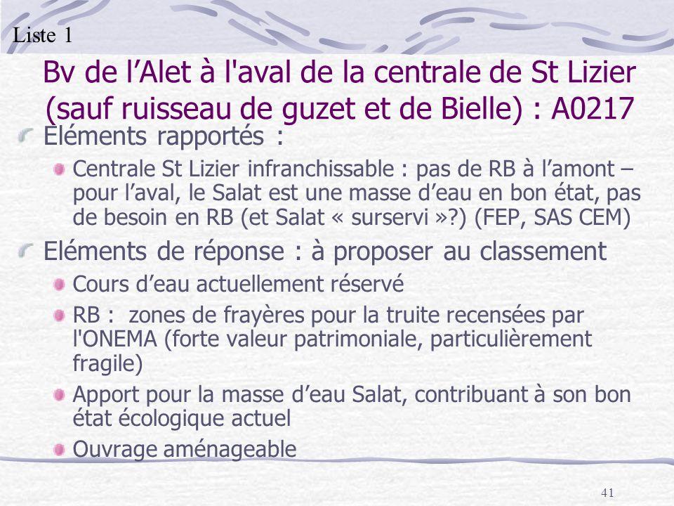 Liste 1 Bv de l'Alet à l aval de la centrale de St Lizier (sauf ruisseau de guzet et de Bielle) : A0217.