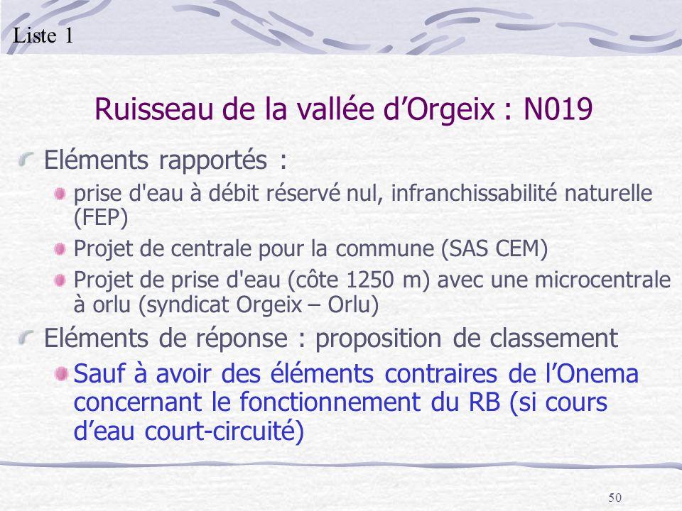 Ruisseau de la vallée d'Orgeix : N019