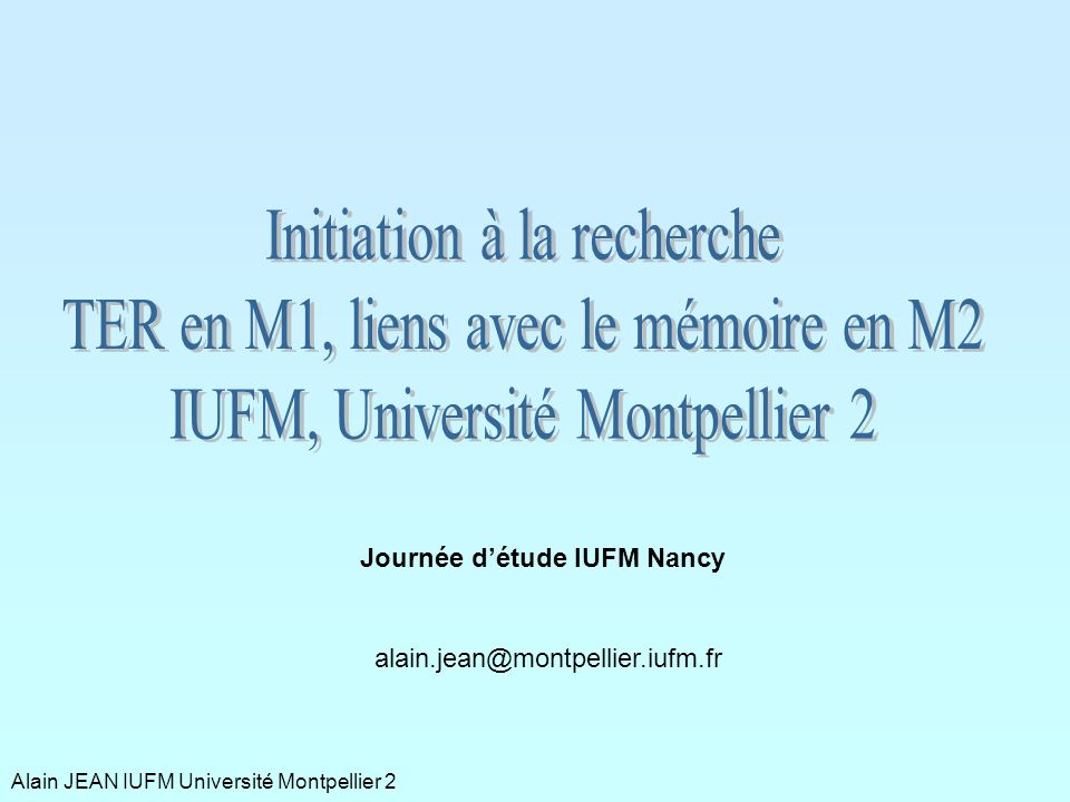 Initiation à la recherche TER en M1, liens avec le mémoire en M2