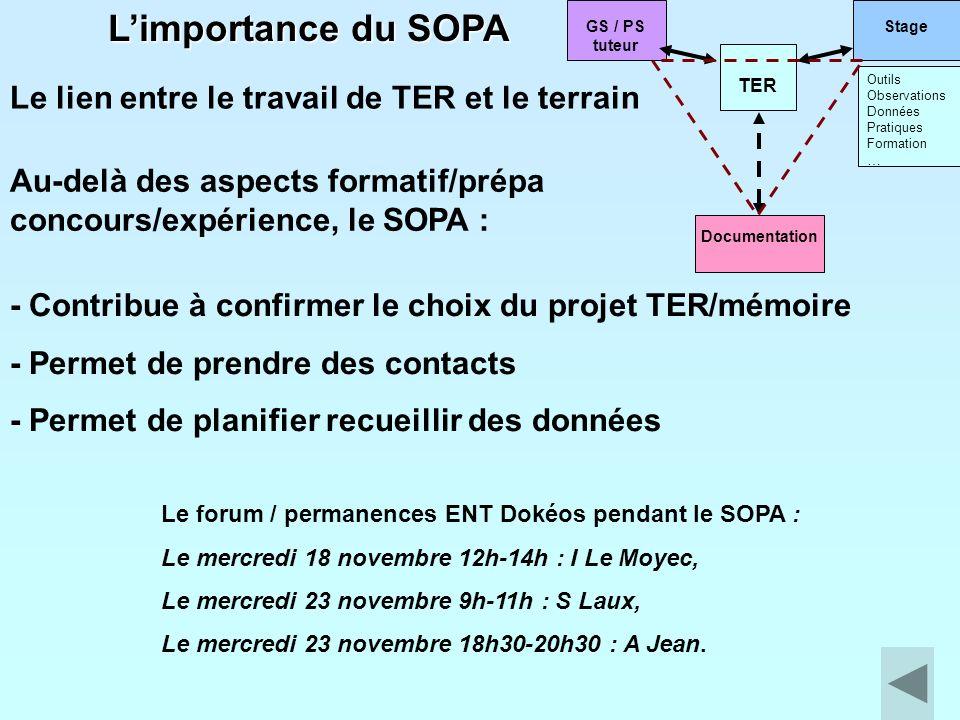 L'importance du SOPA Le lien entre le travail de TER et le terrain