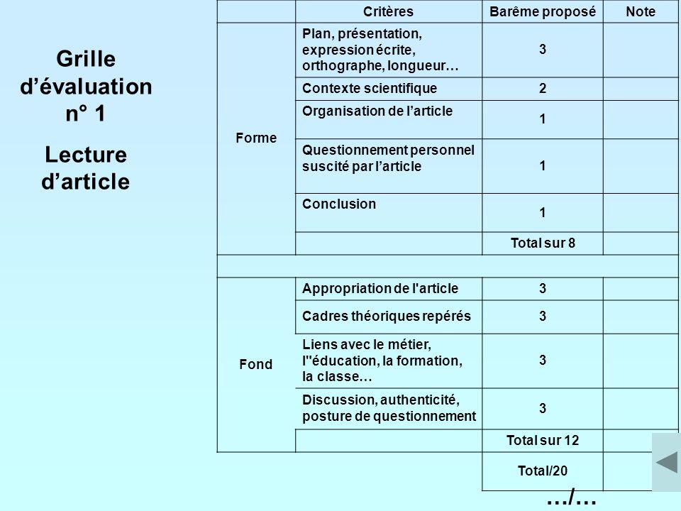Grille d'évaluation n° 1