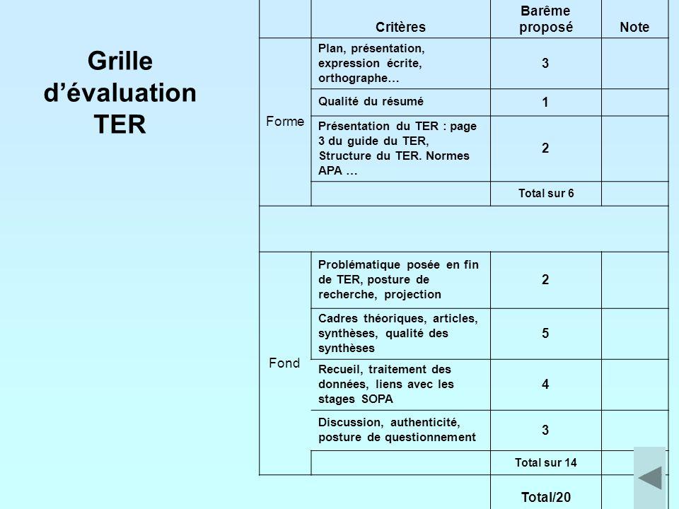 Grille d'évaluation TER