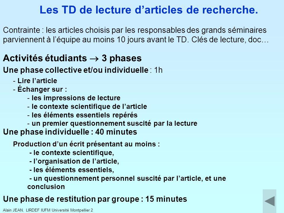 Les TD de lecture d'articles de recherche.