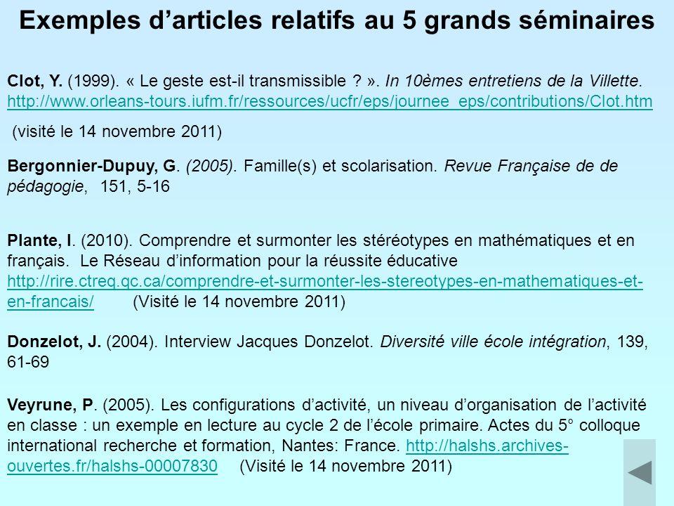 Exemples d'articles relatifs au 5 grands séminaires