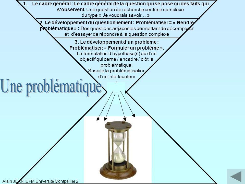 Le cadre général : Le cadre général de la question qui se pose ou des faits qui s observent. Une question de recherche centrale complexe