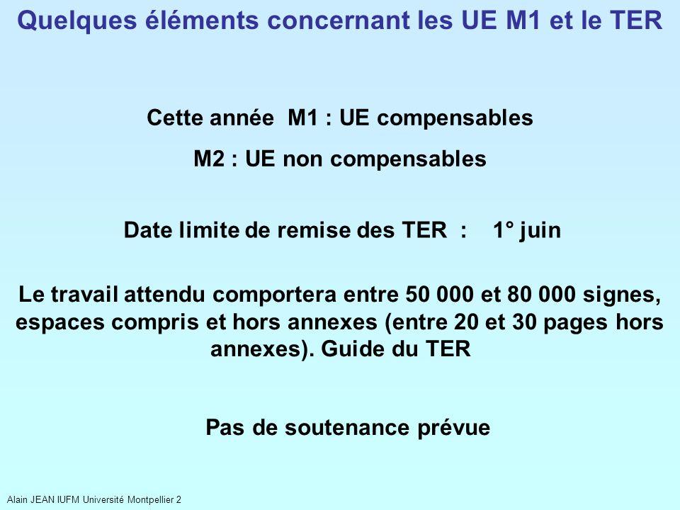 Quelques éléments concernant les UE M1 et le TER