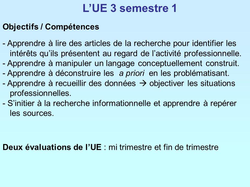 L'UE 3 semestre 1 Objectifs / Compétences
