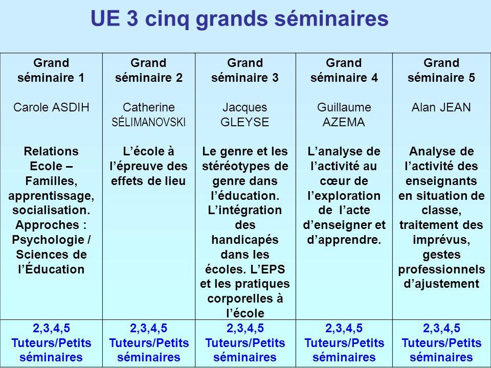UE 3 cinq grands séminaires