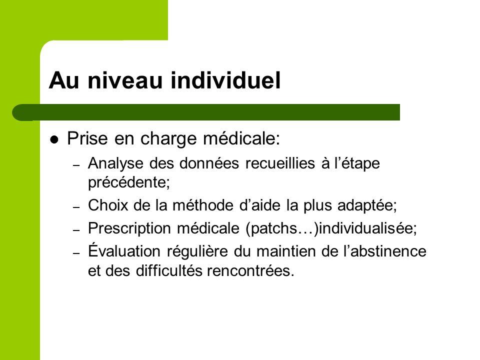 Au niveau individuel Prise en charge médicale: