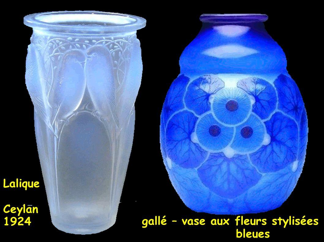 Lalique Ceylan 1924 gallé – vase aux fleurs stylisées bleues