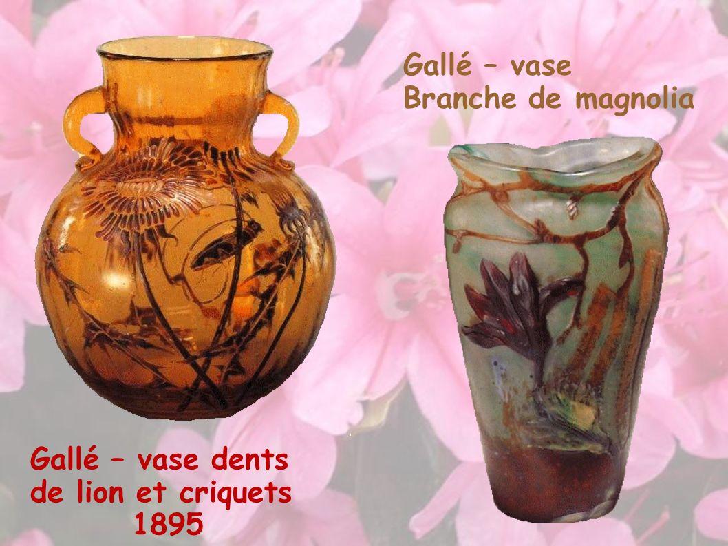 Gallé – vase dents de lion et criquets 1895