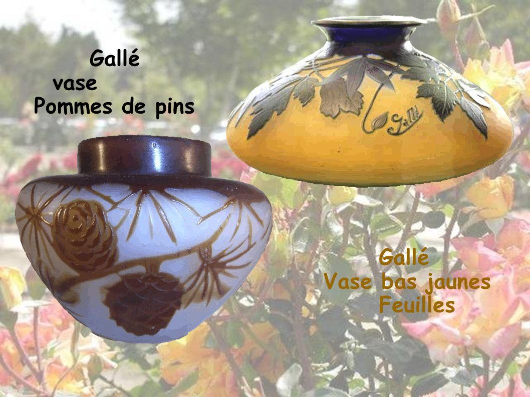 Gallé vase Pommes de pins Gallé Vase bas jaunes Feuilles 20