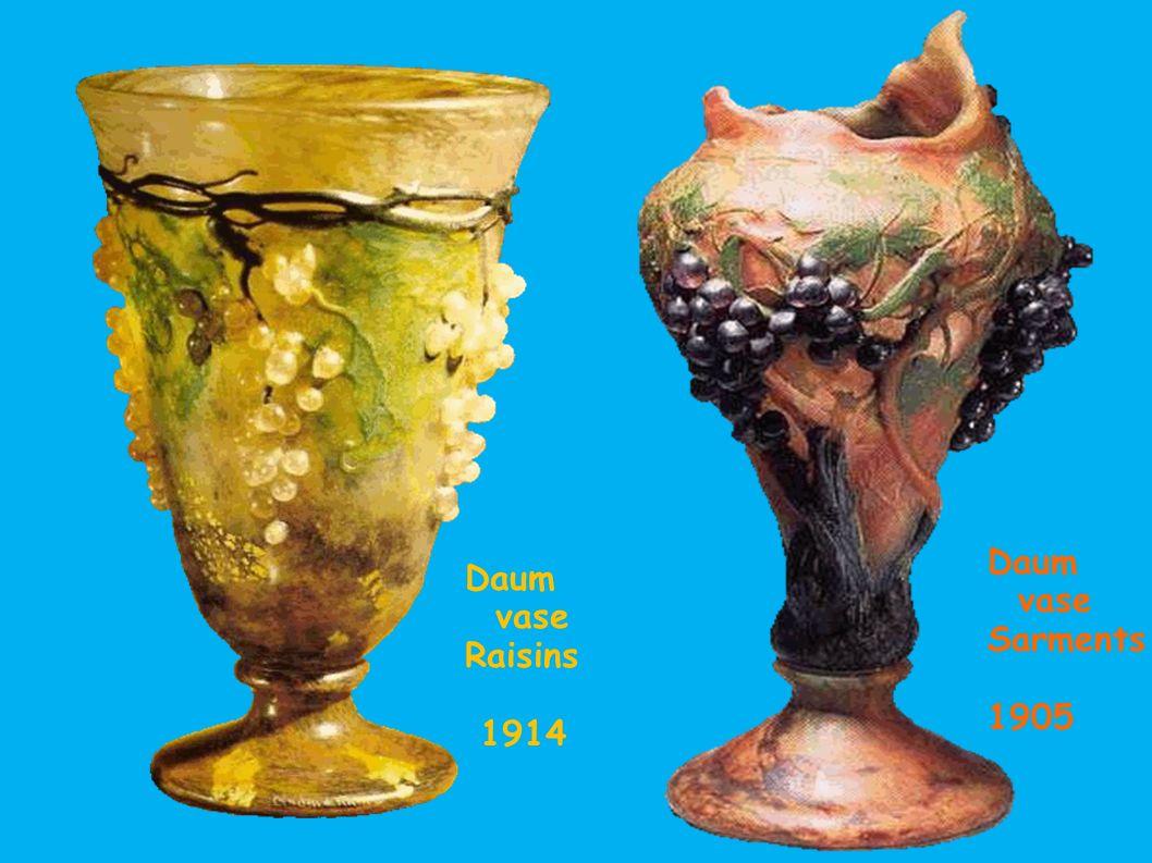 Daum vase Sarments 1905 Daum vase Raisins 1914