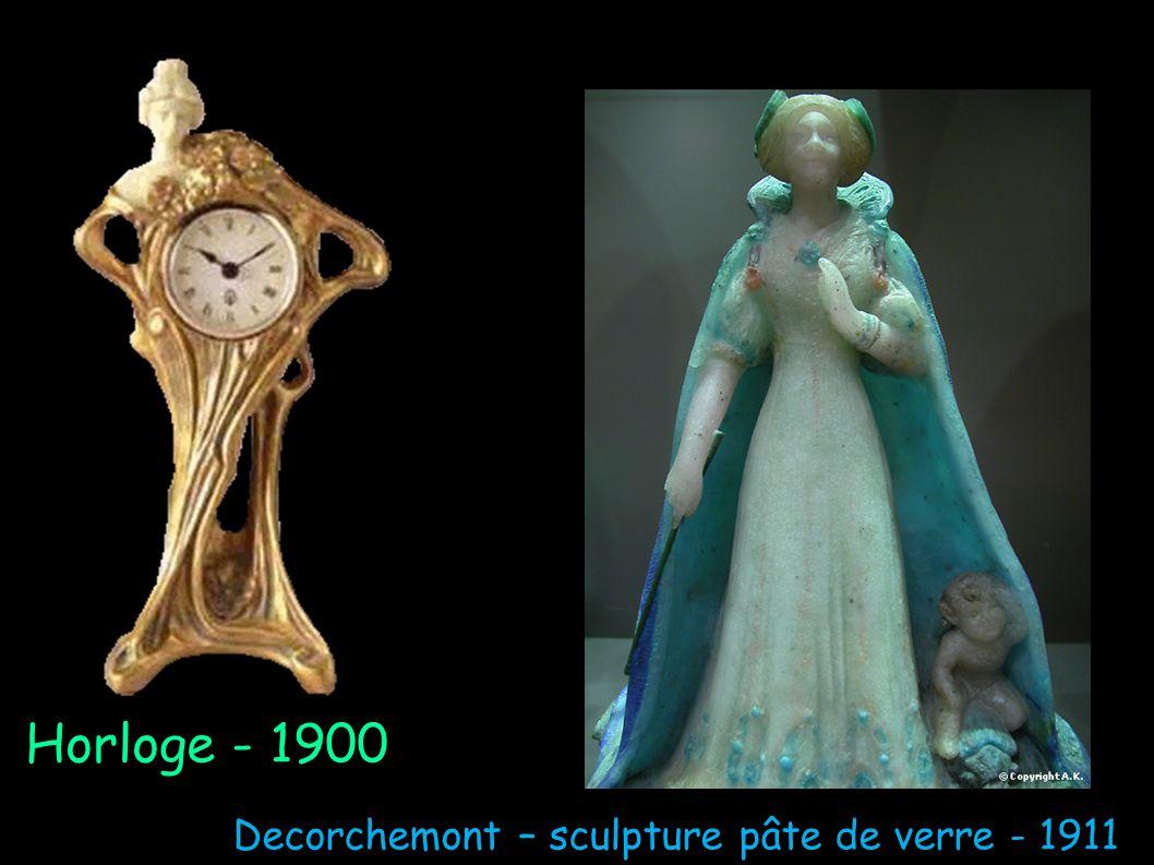 Horloge - 1900 Decorchemont – sculpture pâte de verre - 1911