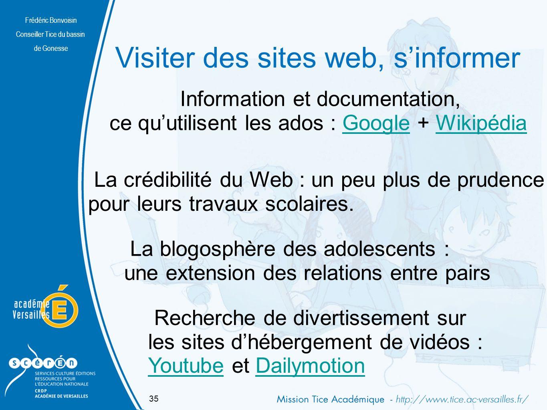 Visiter des sites web, s'informer