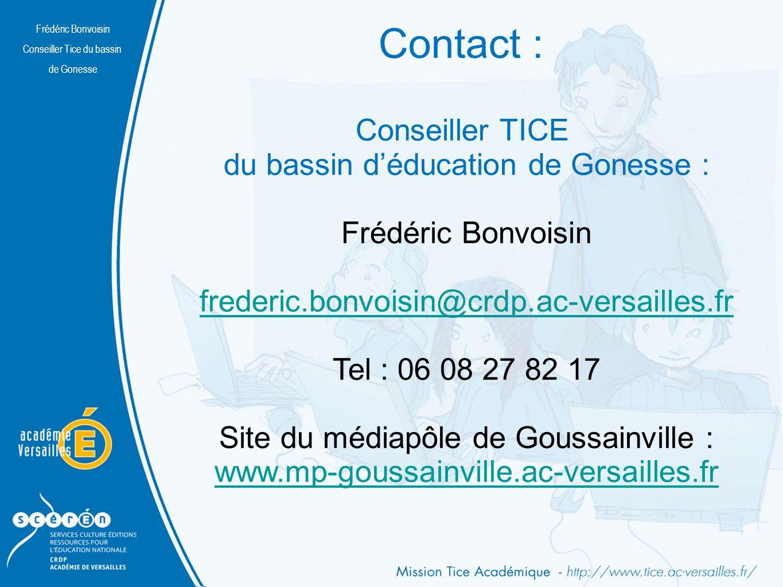 Contact : Conseiller TICE du bassin d'éducation de Gonesse :