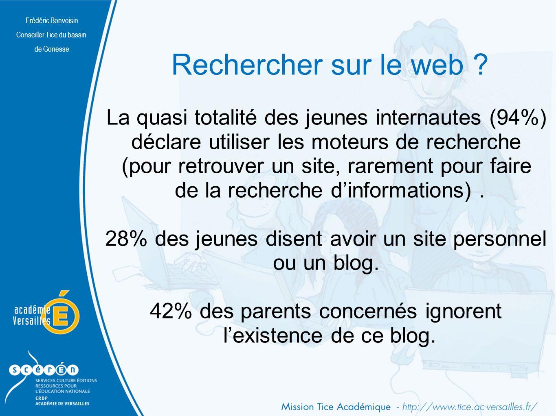 Rechercher sur le web La quasi totalité des jeunes internautes (94%)