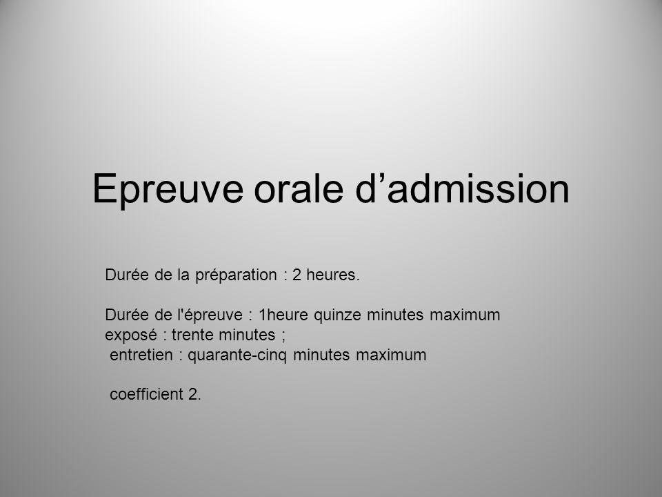 Epreuve orale d'admission